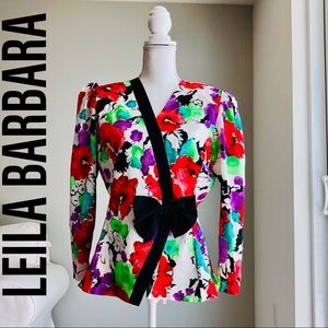 LEILA BARBARA Floral Print Bow Accent Blouse